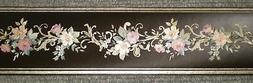 Black Satin Border with Gold Accents & Purple Flowers By Fin