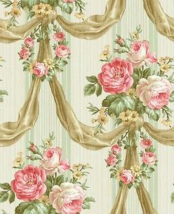 Blooming Draped Bouquet Wallpaper in Pink and Green TX41101