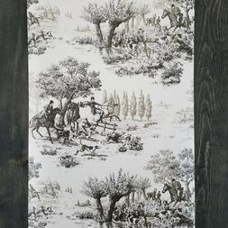 Wallquest Horse and Hound Hunting Equestrian Linen Tan Green