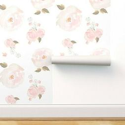 Peel-and-Stick Removable Wallpaper Pink Watercolor Floral Gi