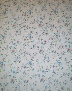 Vintage Brick Red, Blue & Tan Flowers on Gray Wallpaper by F