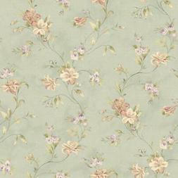 Wallpaper Country Cottage Floral Red Tan Lilies Lavender Ros