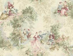 Wallpaper Designer French Toile Faux Tapestry Green Blue Red