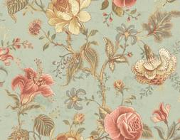 Wallpaper Large Traditional Jacobean Floral Vine on Moss Gre