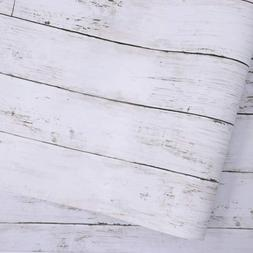 White Gray Wood Paper 17.71 in X 118 in Self-Adhesive Remova